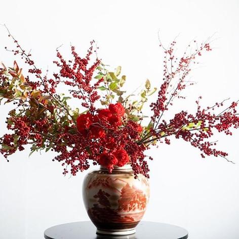 Reds!_Kutani ware!九谷焼赤絵!_Flower by Tenke