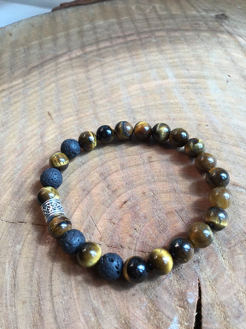 Tigers Eye & Lava Bracelet
