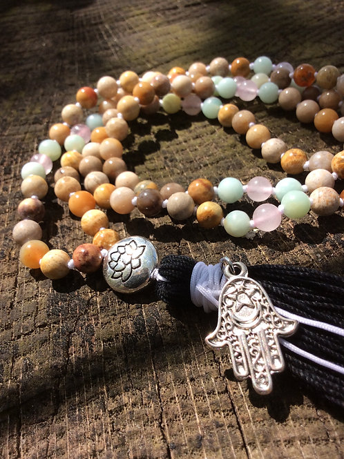 Fossil Coral, Amazonite & Rose Quartz Mala