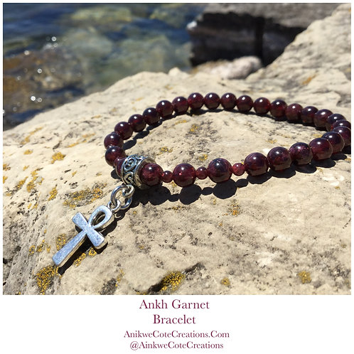 Garnet Ankh Bracelet