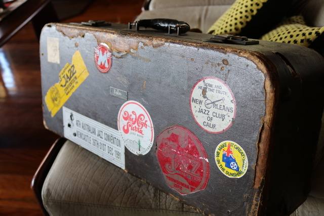 A well-travelled sax case