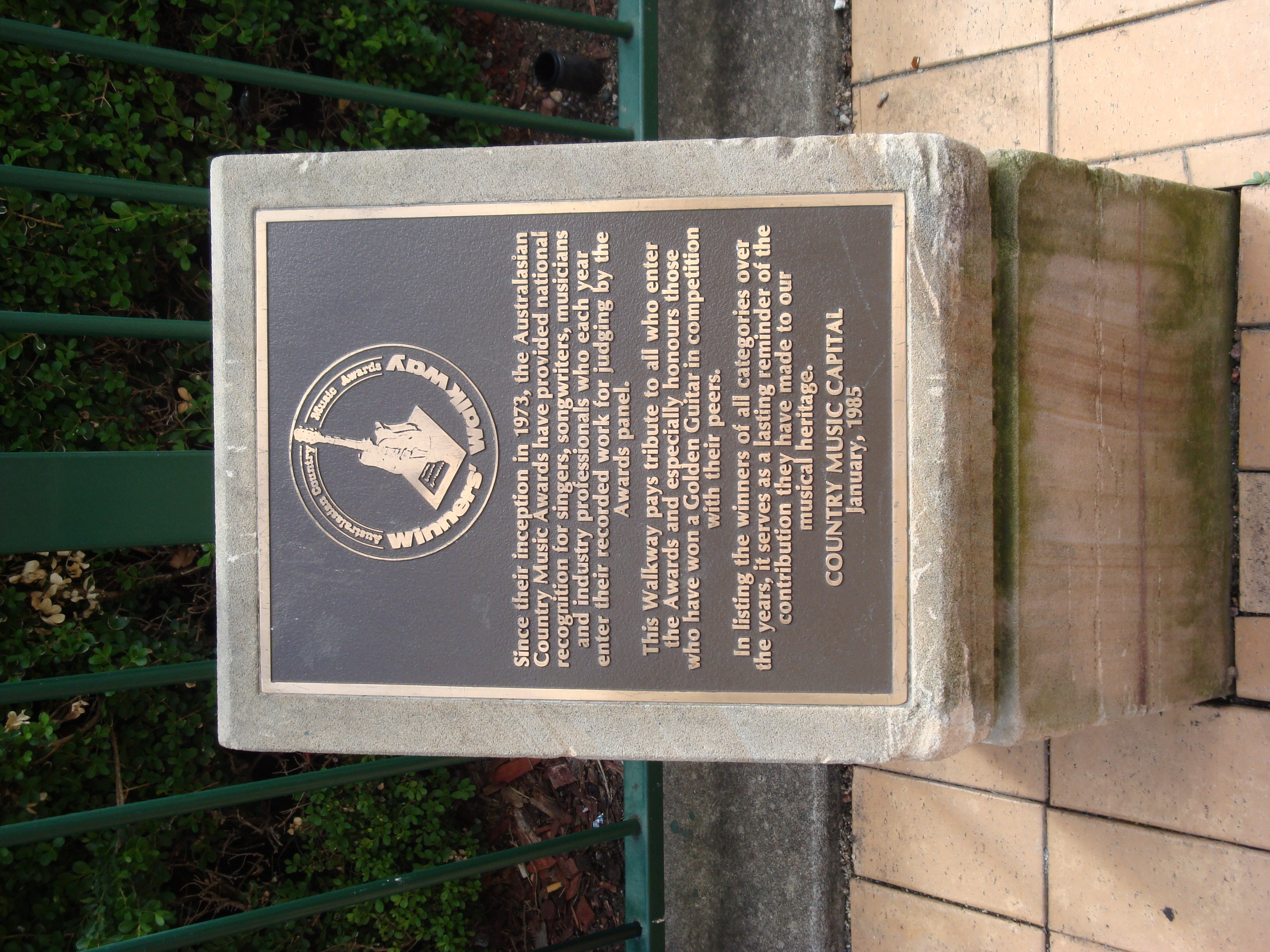 Winners Walkway plaque