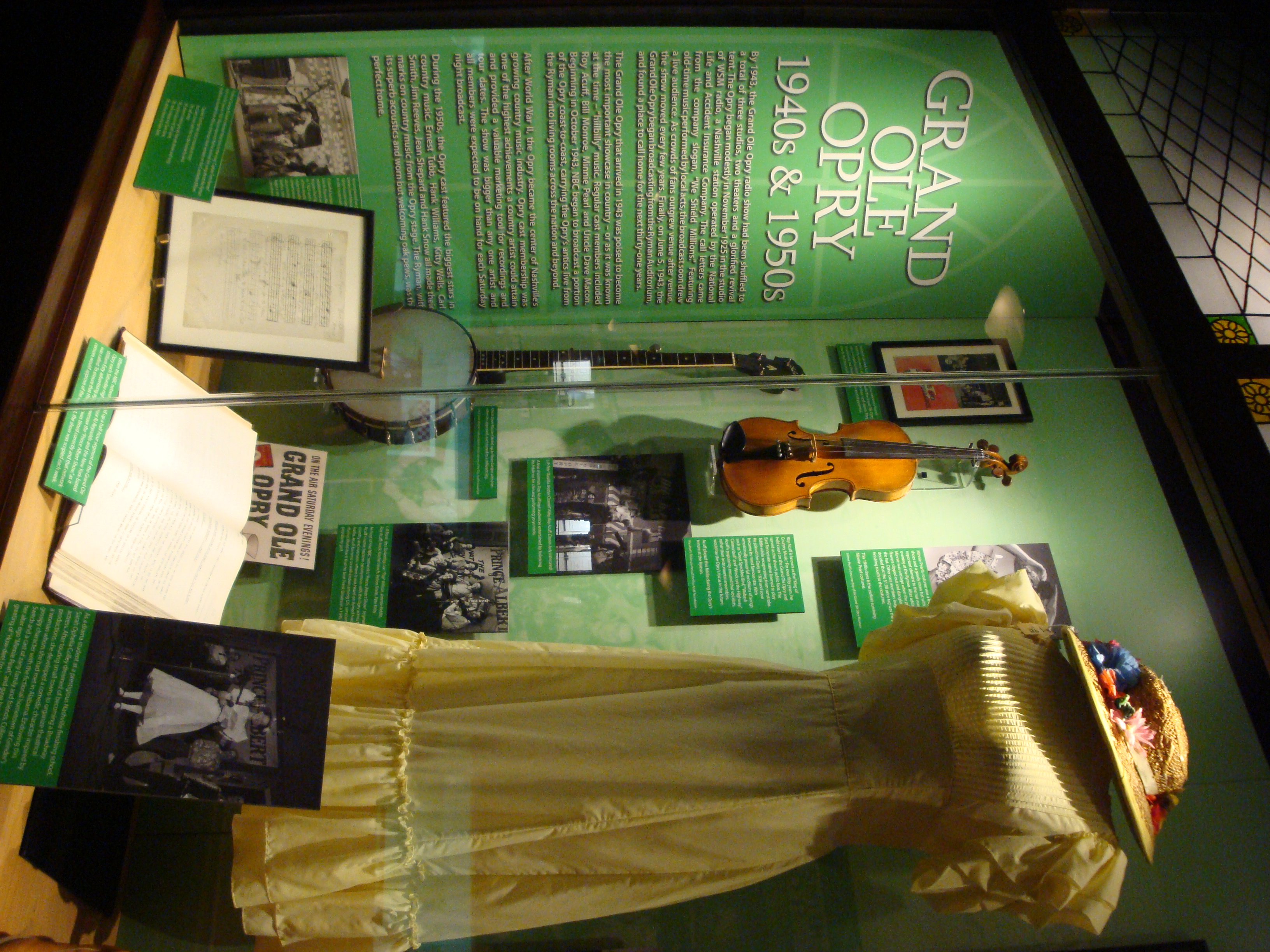 Display case at the Ryman Auditorium in Nashville