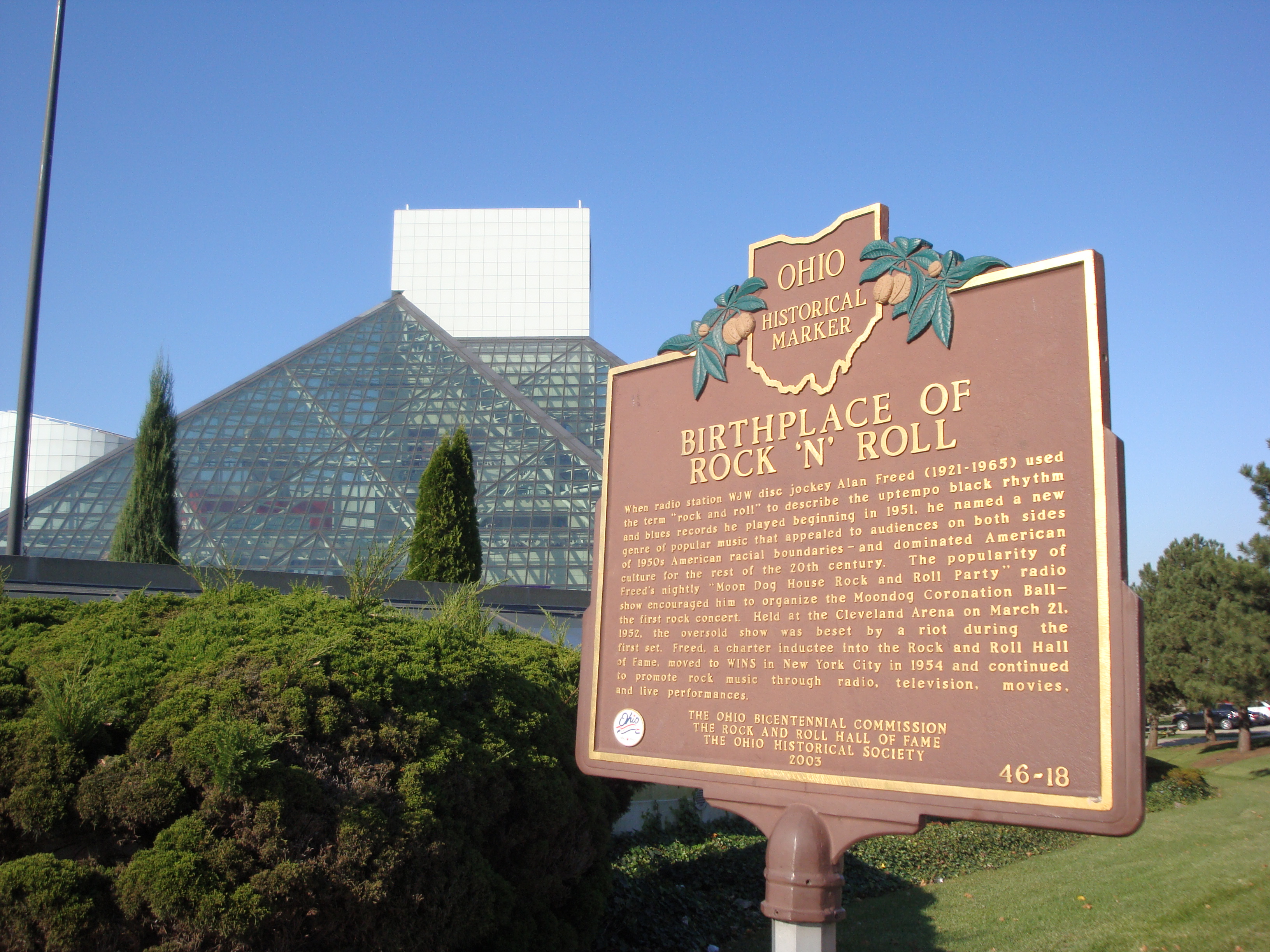 Birthplace of Rock 'n' Roll Ohio Historical Marker outside the Rock and Roll Hall of Fame and Museum