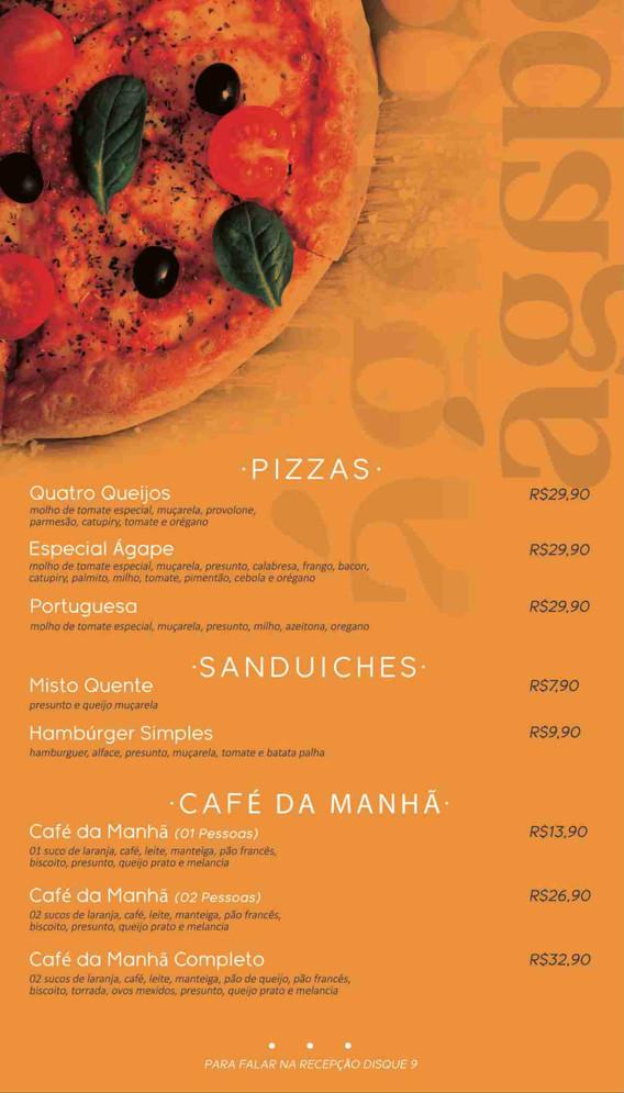 Pizzas, Sanduiches e Café da manhã