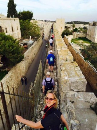 Our Israel Tour Group Walks the Walls of Jerusalem as Watchmen.