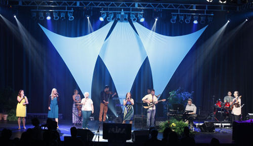 The Band from the Land, made up of worshippers from six different Israeli congregations, leading worship during Israel Night