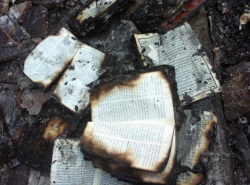 Bibles burned by Islamic Extremists this week, as they torched the Egyptian Bible Society.