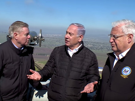 Netanyahu tours Golan Heights with US Sen. Linsdey Graham, ahead of bill for US recognition