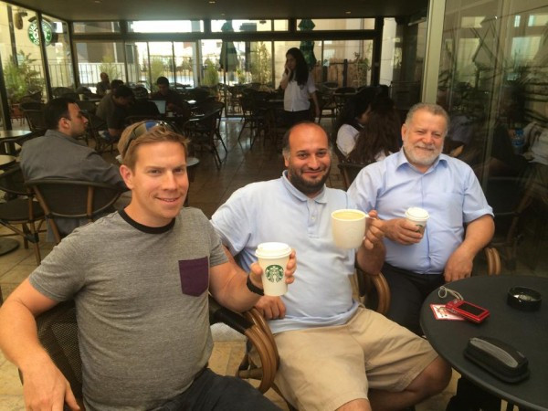 The time we spent in Jordan was very intense. One of the days we took more rest. On the picture you can see Moti, Dan and Edward (a pastor at an Arab church in Haifa). A timeout in Starbucks in Amman, the capital of Jordan.