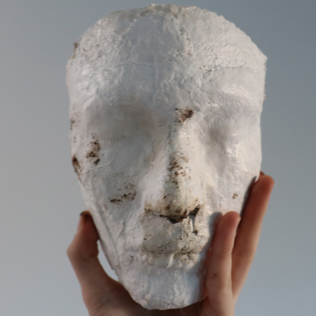 Death and Her Faces (1), 2019-20, plaster, mycelium, mold, growing medium, wax