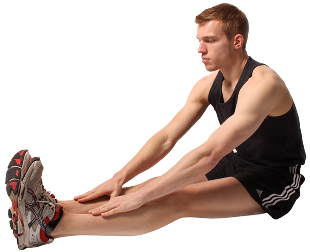 a man performing a flexibility exercise that stretches his hamstring muscles