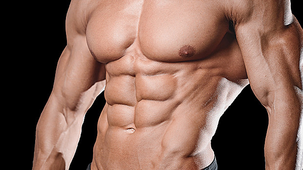 a man bearing a super-ripped physique, very defined abdominals and chest