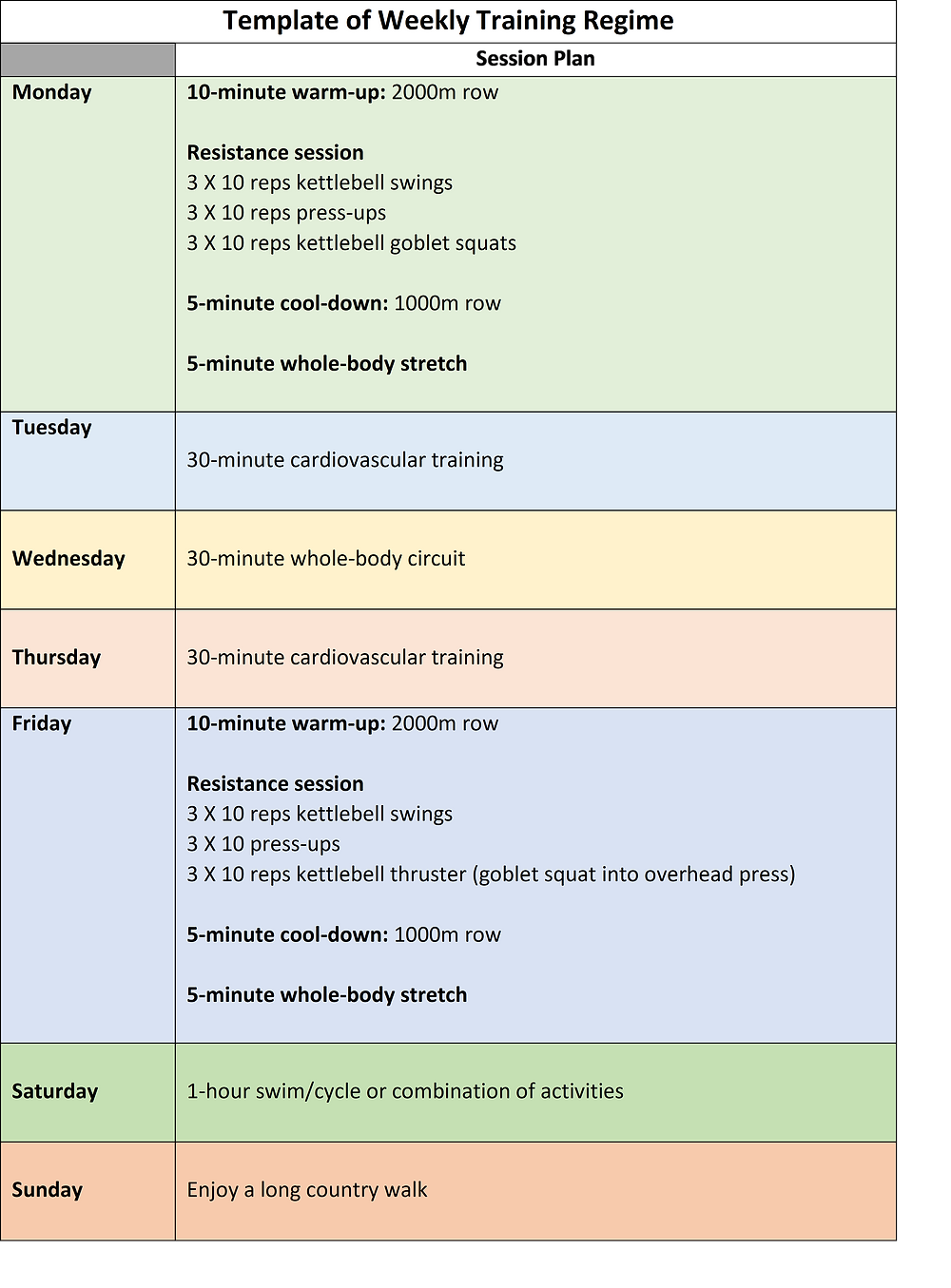 a weekly training programme showing that you can exercise every day.