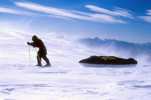 Ranulph Fiennes pulling a sledge across the Antarctic