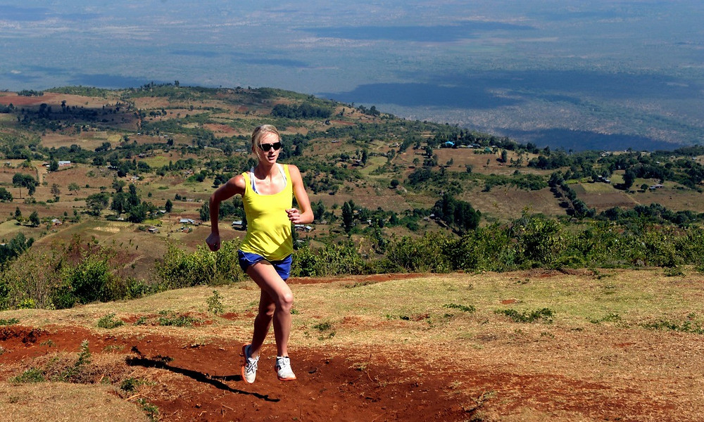 woman running at high altitude in Africa