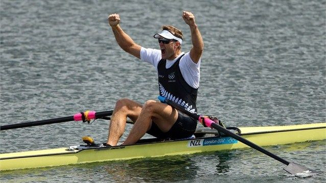 Mahe Drysdale celebrates winning an Olympic gold medal in rowing
