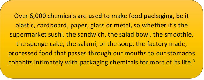 this text box says: Over 6,000 chemicals are used to make food packaging, be it plastic, cardboard, paper, glass or metal, so whether it's the supermarket sushi, the sandwich, the salad bowl, the smoothie, the sponge cake, the salami, or the soup, the factory made, processed food that passes through our mouths to our stomachs cohabits intimately with packaging chemicals for most of its life.