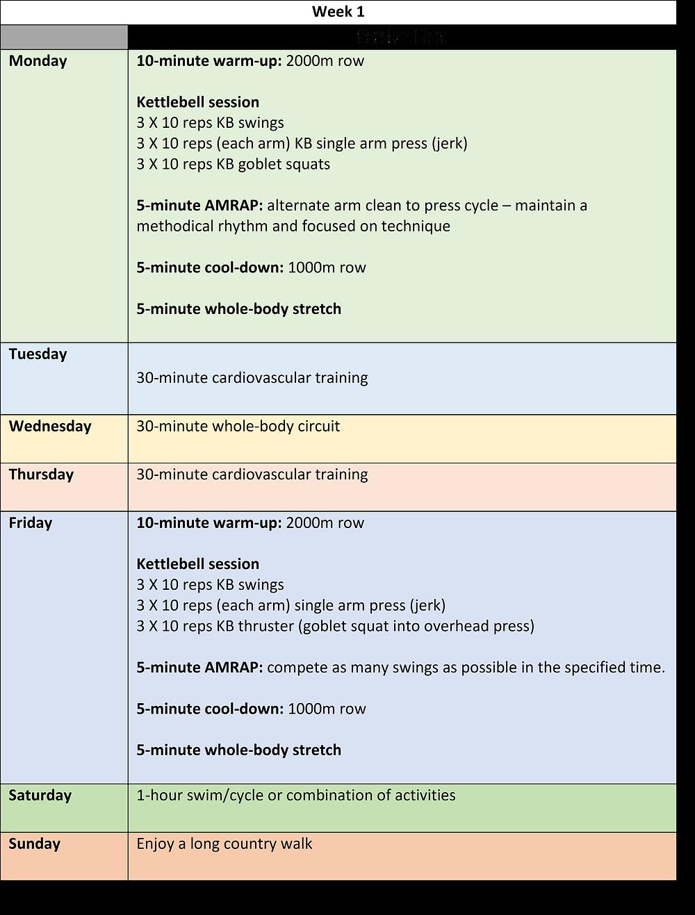 week 1 of a 6-week kettlebell training programme