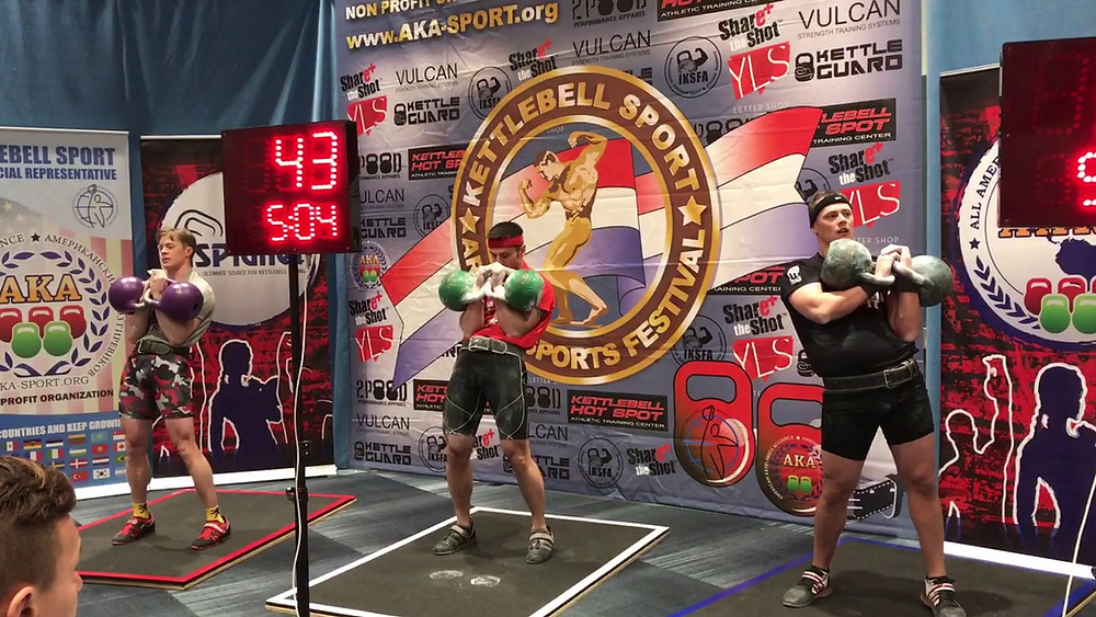 kettlebell competitors competing in a kettlebell competition