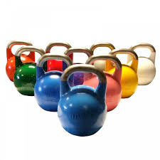 10 competition kettlebells of assorted weight