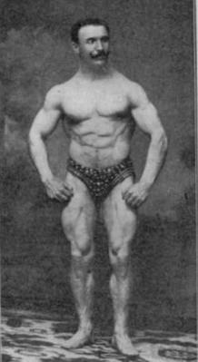 a circus strongman striking a pose