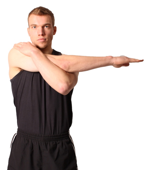 a man performing a flexibility exercise that stretches his shoulder and upper back muscles