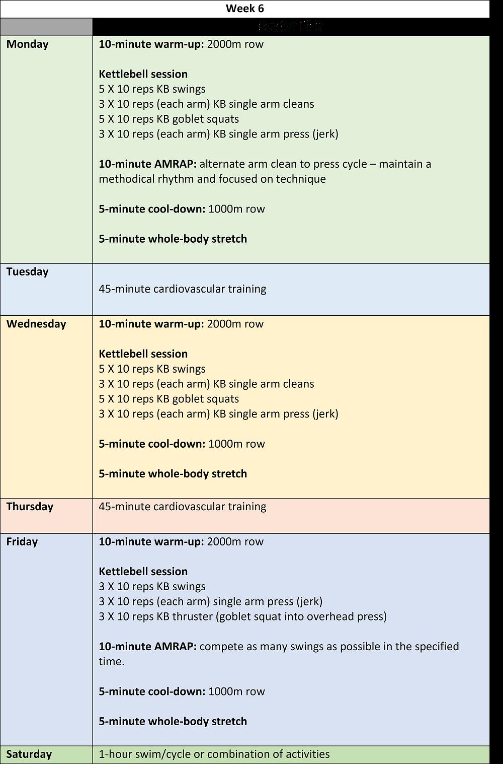 week 6 of a 6-week kettlebell training programme