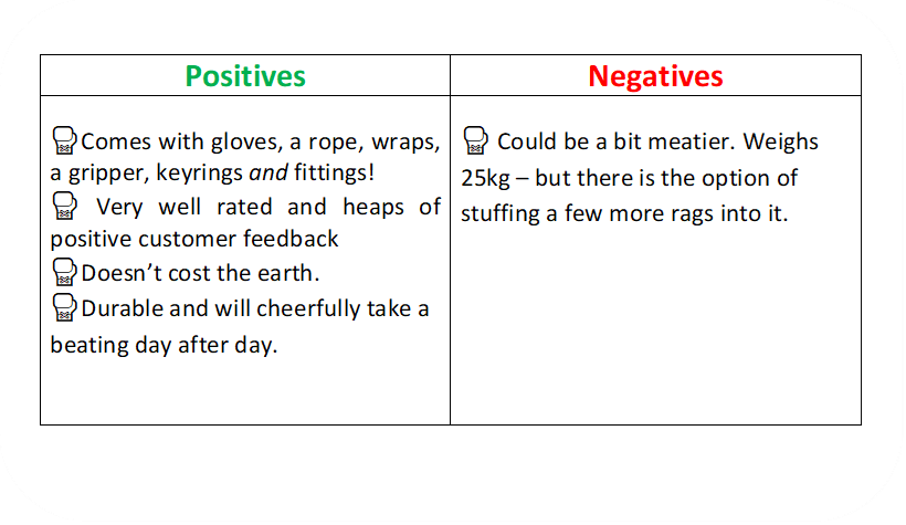 a text box identifying the positives and negative of the Maxx boxing bag.