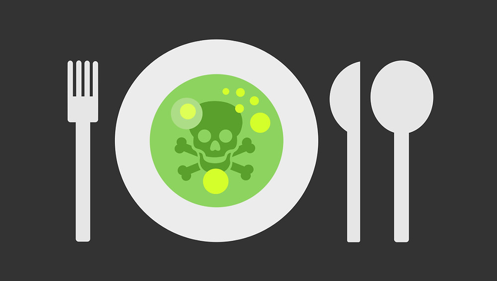 an image depicting the toxic food environment: a plate with a scull and cross bones floating in a bowl of soup.
