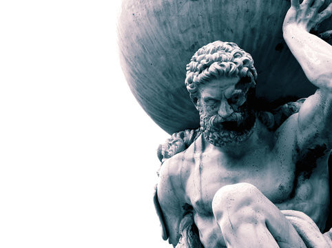 a statue of the Greek god Atlas, supporting the world
