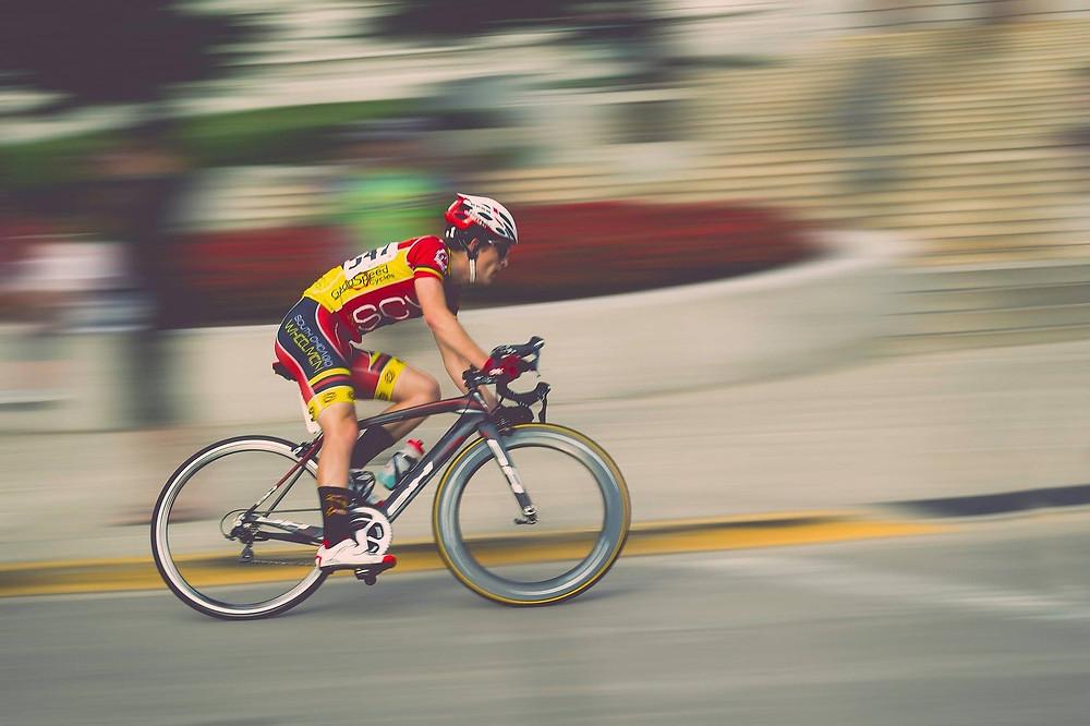 a man cycling