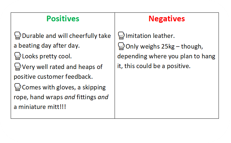 a text box identifying the positives and negative of the ONEX boxing bag.