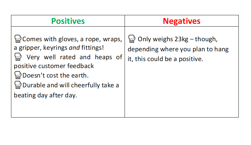 a text box identifying the positives and negative of the RDX boxing bag.