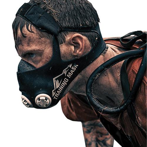 a man wearing a training mask
