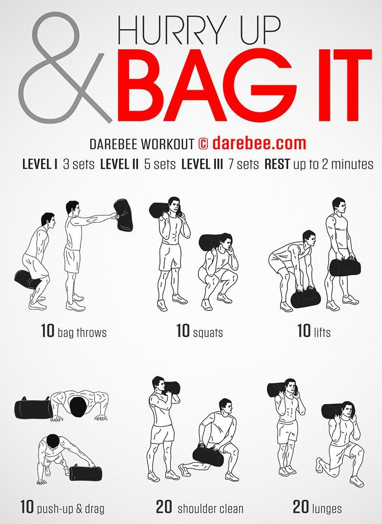 a poster of different power bag exercises