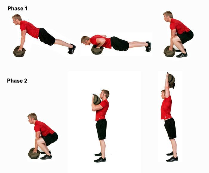 A man is demonstrating sandbag exercises. The sandbag exercise he is performing is the press-up into burpee into deadlift into hang clean into overhead press.