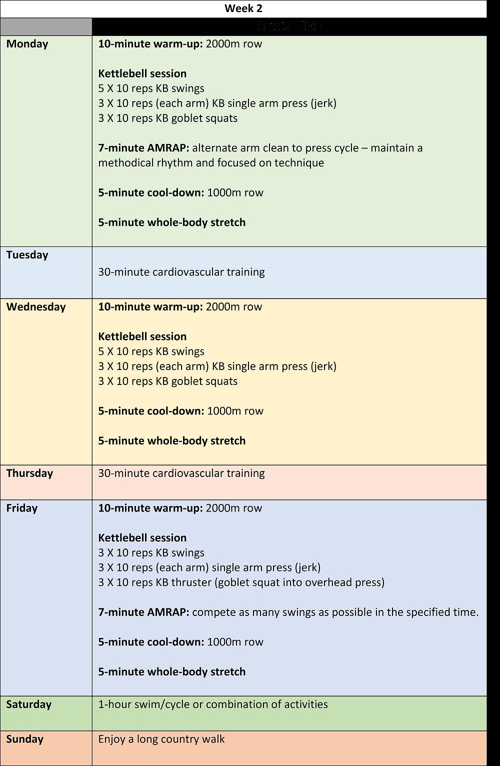 week 2 of a 6-week kettlebell training programme