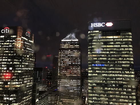 City Sailing Canary Wharf by night