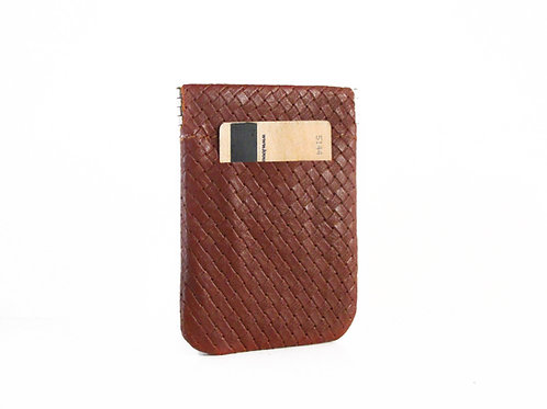 Woven Brown Leather Pocket Wallet