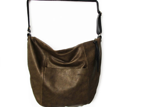 OLIVE GRAY LEATHER HOBO BAG