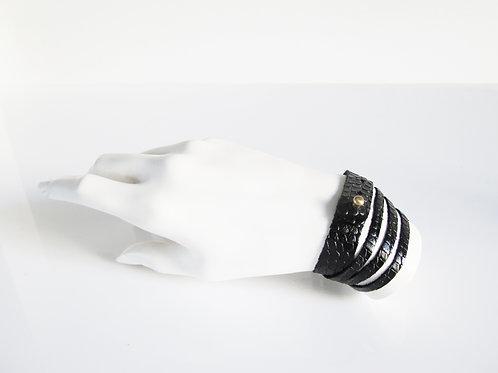 Black Python Leather Bracelet
