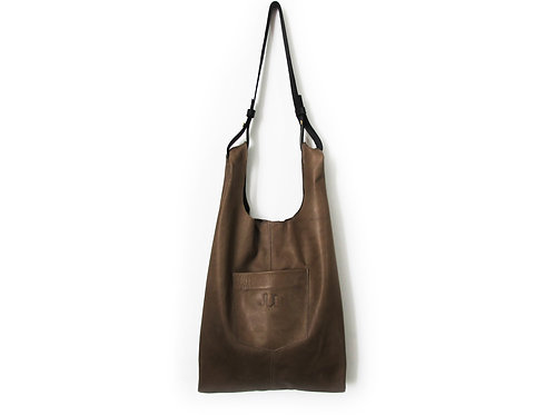 OLIVE GRAY LEATHER TOTE BAG