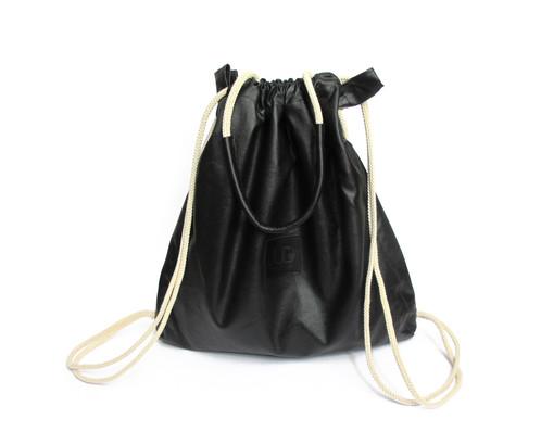 BLACK CANVAS MULTIWAY BACKPACK SACK BAG | JUDtlv Online Shop ...