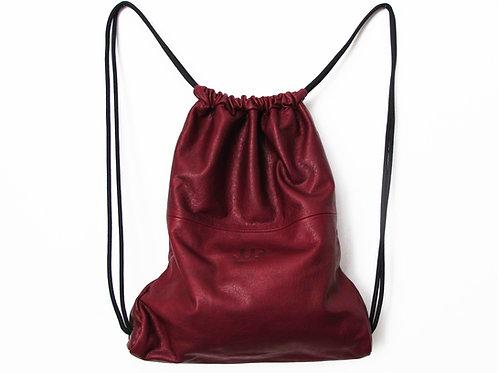 RED LEATHER MULTIWAY BACKPACK SACK BAG