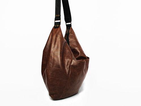 WHISKY BROWN LEATHER HOBO BAG