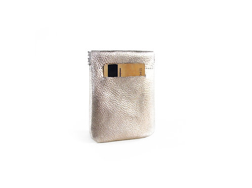 Metallic Silver Leather Pocket Wallet