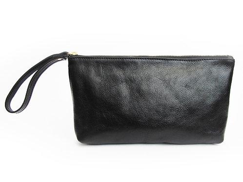 Black Leather Wristlet Clutch