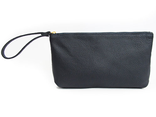 BLUE NAVY LEATHER WRISTLED CLUTCH