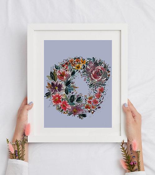 Colorful Floral Wreath  - Original SOLD